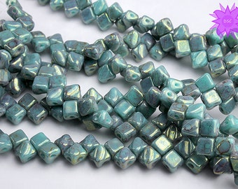 NEW SIZE!! 5mm Silky Bead Green Turquoise Lumi, Silky Diamond Two Hole Bead, Mini Silky Marbled Czech Glass Bead, 5mm Bead Top Accent 40pack