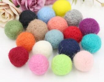 18 pcs Colorful Woollen Felt Balls ( 2 cm ) Girls Hair Clips Hairbands Embellishment