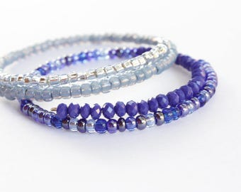 Icy Blue Glass Bead Bangles, Set of Two Bangles, Stack Up Bangles, Ready to Ship,