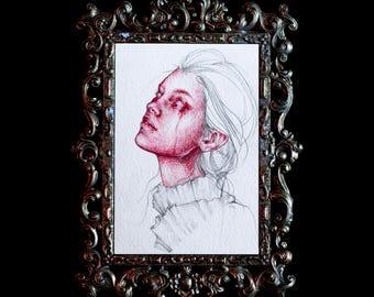 Original 4x6 Post Card Crimson Magenta Watercolor Oil Colored Pencil Study 4