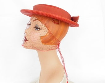 Womans 1950s hat, vintage red boater with veil