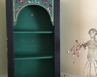 Vintage wall cupboard horse hound painted theme