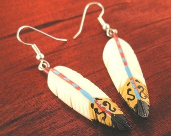Hand Painted Southwestern Feather Earrings, Womens Gift for Her FER-1