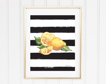 Citrus Fruit Print, Fruit Wall Print, Lemon Kitchen Decor, Picture Of Lemon, Lemon Art Print, Lemon Wall Art, Lemon Illustration