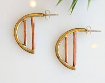 Copper and Brass Half Circle Earrings - brass earrings - copper earrings- geometric earrings - modern earrings - simple earrings - bohemian