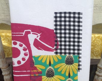 Tea Towel, Flour Sack, Stenciled with Magenta Vintage Phone