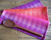 Guest Towel, Woven Hand Towel, Artisan Made Towel, Gourmet Kitchen, Handwoven Tea Towel, Dish Towel, Loom Woven Towel, Rainbow Blocks #10