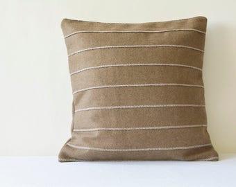 Taupe Pleated Felt Cushion Cover , Brown Felt Decorative Pillow , Taupe Pleated Felt Cushion Cover  , Brown Accent Throw Pillow