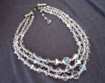 crystal jewelry, crystal necklace, multi strand necklace, vintage crystals, vintage bridal necklace, multi strand crystal, bridal crystals