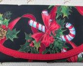 Christmas Candy Cane motif Ribbon fabric Bags & Purses Wallet money clip, Clutch Envelope Handbag accessory 7 x 4 women teen girls