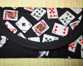Playing Cards Fabric, 6 x 3 CRAZYQuilted, Wallet money clip, Pouch coin purse bags & purses, Women teens, for Los Vegas gambling money