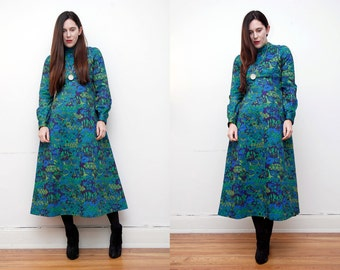 FREE SHIPPING Vintage Floral High Neck Maxi Dress 70's