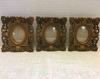 Vintage Set of 3 Small Gold Ornate Frames with Bubble Glass Convex Glass Family Wall Frames