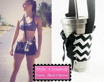 Cup Corset - Crossbody - Black Chevron - Handle - Adjustable - Reversible - Cup Holder - Coffee Cozy