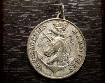 Vintage French Equestrian Themed Horse silver Medal - Anchor and horse souvenir medal from France