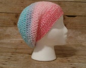 Ombre Slouchy, Ombre Pastel Slouchy Hat, Striped Beanie Slouch Hat, Candy Colored Slouchy Hat