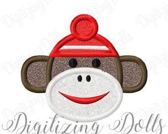 Sock Monkey Applique Machine Embroidery Design 2.5x2 4x4 5x7 6x10 INSTANT DOWNLOAD