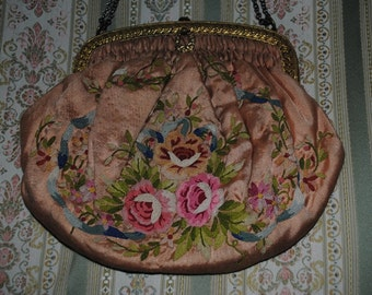 Antique FRENCH Pink Silk PURSE Hand embroidered ROSES Paris Chic