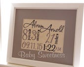 Embroidered Birth Announcement Keepsake Embroidered on Canvas Red Heart 8X10