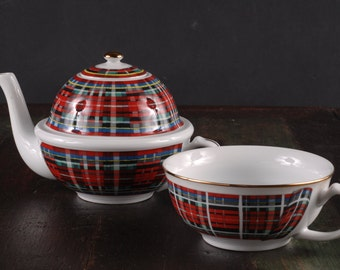 Tea pot and Cup in Stuart Dress Tartan, Williams Sonoma,