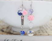 RESERVED for Janice *Pink Asymmetrical Earrings, Love Earrings, Inspirational Jewelry, Blue floral earring, Shabby chic -All we Need is Love
