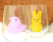 Hand Painted Wine Glasses, Peep Wine Glass, Easter Bunny Peeps, Easter Wine Glass, Easter Peeps,  Spring Wine Glass, Wine Gift