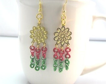 Christmas Lace Chainmaille Earrings