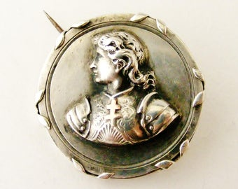 French antique Joan of Arc brooch , silver and rose gold