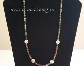 "22"" Long Beaded Earth Tone Necklace Silver Pendants"