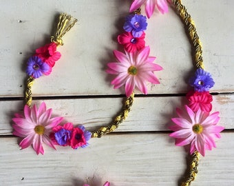 Adults/Chidrens Tangled Rapunzel Hair Braid with pink and purple flowers- made to order