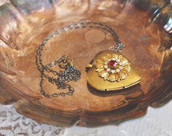 Romantic vintage styled brass heart locket with floral rhinestone design on front, long necklace, locket jewelry, Sweetly Ginny