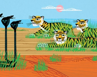 Tigers and Cobras - Nature / Wildlife - Childrens Art - Animal Art -  Kids Art - Limited Edition Art Poster Print by Oliver Lake