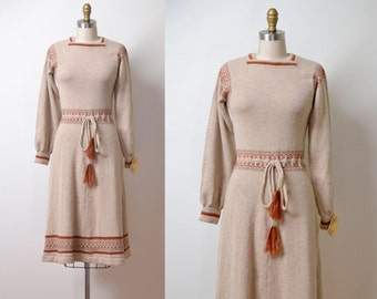 1970s Sweater Dress / 70s Beige Knit Folk Dress