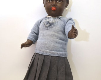 RARE 1930s Antique German Black African Doll Celluloid D R P GERMANY Girl 60 Winged Mermaid Cellba Celluloid Warenfabrik Schoberl & Becker
