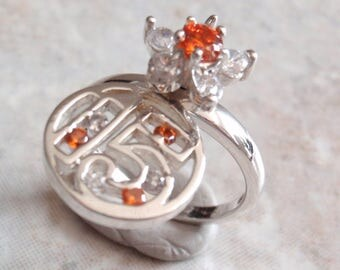 Quinceanera Ring Sterling Silver Orange Crystal Spinner 15 Anos Size 6-1/2 Vintage AT0294