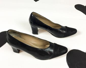 80's black pony fur pumps 1980's Stefani leather pony hair classic high heels / avant garde / minimalist / cap toe / fury / size 8.5 M 8 1/2