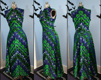 Vintage Womens 1970s Psychedelic Maxi Dress Retro Tiki Keyhole Bust Groove is in the Heart Modern Size Large