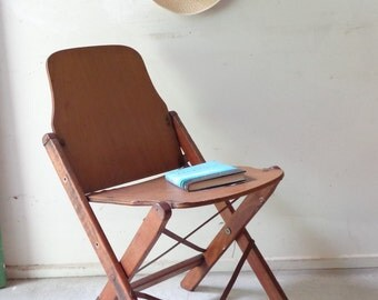 Rustic Vintage Wooden Fold up Chair - Rozelle Wood Products 1962