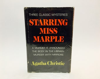 Vintage Mystery Book Starring Miss Marple: Three Classic Mysteries by Agatha Christie 1977 Hardcover Anthology