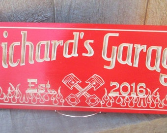 Garage Sign, Man Cave Sign, Shop Sign, Fathers Day Gift, Gift for Him, Grooms Man Gifts, Carved Wood Sign, Custom Wooden Sign,