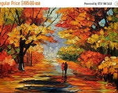 70%OFF Original painting Oil Painting Landscape Impasto painting Palette Knife Textured Colorful canvas painting wll hanging red ART by MArc