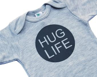 Hug Life Bodysuit - Boy Baby Shower Gift - Black and White - Funny Baby Bodysuit - Funny Baby Boy Gift - Funny Baby Gift