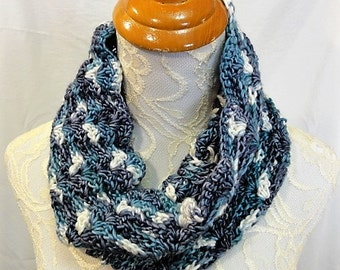 merino silk cowl teal greens, ivory and blue