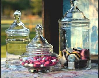 Vintage Apothecary Jars / Three Covered Candy Jars / Candy Bar Buffet / Princess Birthday Candy Bar / Wedding Candy Bar Buffet