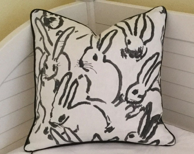 Groundworks Bunny Hutch in Black on Both Sides Designer Pillow Cover with Choice of Piping Color - Square, Lumbar and Euro Sizes