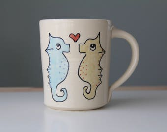 Seahorse Coffee Mug Handmade Pottery Coffee cup tea cup cute animal themed ceramics illustrated pottery seahorses in love illustration