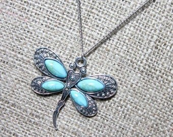 Imitation Turquoise Dragonfly Silver Necklace ~ Pendant on Chain