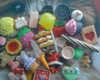 kawaii decoden deco diy cabochon sweets mix  # 33  more than 30 pcs---USA seller