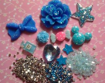 Kawaii blue DIY decoden phone girly cabochon kit   Blue  # 364--USA seller