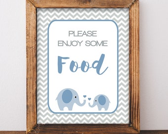 Shower Food Table Sign, Blue Elephant and Grey Chevron, Baby Boy,  INSTANT PRINTABLE